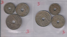 Belgium - 5,10,25 centimes Dutch and French legend set of 6 holed coins