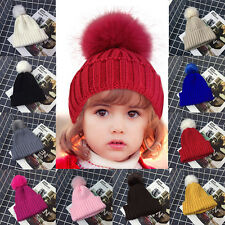Children Warm Winter Wool Knit Beanie Fur Pom Bobble Beret Hats Crochet Ski Caps