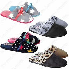 LADIES COMFORT SOFT FURRY SLIPPERS WOMENS BEDROOM WARM SLIP ON MULES SHOES 3-8