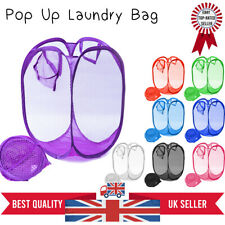 Laundry Bag Pop Up Mesh Foldable Washing Basket Hamper Toy Cloth Storage UK