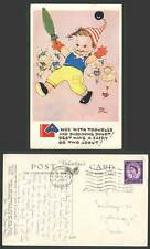 MABEL LUCIE ATTWELL 1957 Old Postcard Fairies Girl Away with Troubles Doubt 5320