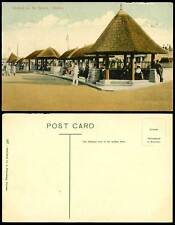 South Africa Durban Old Colour Postcard Shelters on the Beach, Huts Street Scene