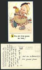 MABEL LUCIE ATTWELL Old Postcard Girl with Basket Still on The Same OL' Job 5052