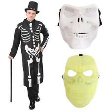 ADULTS JAMES BONES COSTUME MENS HALLOWEEN FANCY DRESS SKELETON COAT TIE HAT MASK