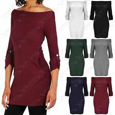 NEW WOMEN OFF SHOULDER JUMPER LUREX RIB KNIT LADIES DRESS BARDOT LONG JUMPER TOP