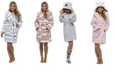 Womens Hooded Sherpa Soft Snuggle Dressing Gown Short Bath Robe Ladies Size