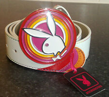 BRAND NEW PLAYBOY BELT WITH MULTI COLOURED DISC IN PINK OR WHITE