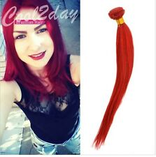 1 Bundle Straight 100% Brazilian Remy Virgin Human Hair Extensions Weve Weft Red