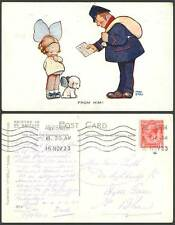 MABEL LUCIE ATTWELL 1923 Old Postcard Card From Him Postman Letter Girl Dog 4814