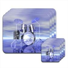 Funky Reflective Drum Set Futuristic Set of 4 Coasters & Placemats
