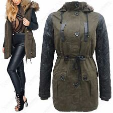 NEW WOMENS KHAKI FAUX LEATHER QUILTED SLEEVE FUR HOOD MILITARY PARKA JACKET COAT