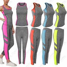 LADIES WORKOUT FITNESS TRACKSUIT SPORTS YOGA GYM MUSCLE TOP VEST LEGGINGS 2 PC