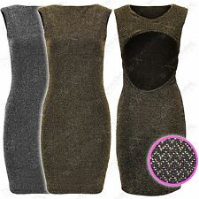 NEW LADIES BODYCON LUREX DRESS CUT OUT BACK BLACK GOLD SILVER SPARKLE WOMENS TOP