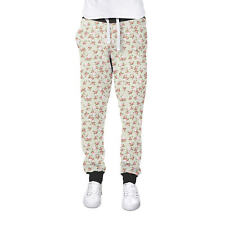 Shabby Chic Roses on Green Cuffed Joggers Womens Sweatpants Jogging Bottoms