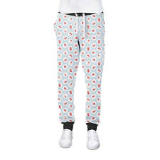 Shabby Chic Florals on Blue Cuffed Joggers Womens Sweatpants Jogging Bottoms