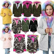 Kids Hooded Jacket Girls Rainbow Faux Fur Parka School Jackets Outwear Coat 2-13