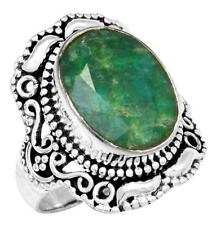 Brazilian Emerald Gemstone Ring Solid 925 Sterling Silver Jewelry IR36650