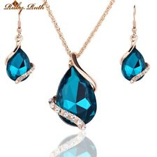 Jewelry Sets For Women Wedding Bridal Dress Accessories Water Drop Crystal Neckl