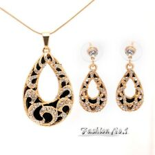 Fashion Water Drop  Gold  Austrian Crystal Wedding 2 Pcs Jewelry Sets With Neckl
