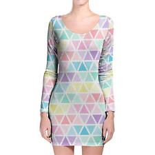 Pastel Triangles Longsleeve Bodycon Dress XS-3XL All-Over-Print