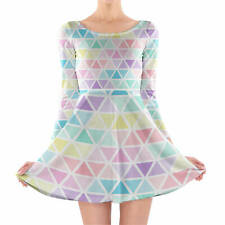 Pastel Triangles Longsleeve Skater Dress XS-3XL All-Over-Print