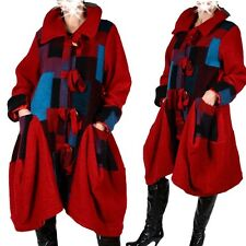 patchwork lana LOOK a strati Cappotto Trench 40 42 44 46 48 ROSSO M L XL XXL