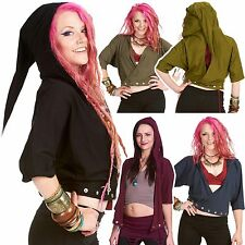 Pixie Hood Batwing Top, Festival Clothing, Plus Size Psy Trance Clothing XL XXL