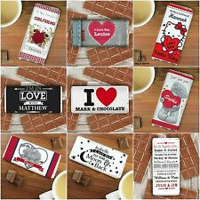 Personalised Chocolate Bar Valentine's Day Gifts for Him Her Men Women Valentine
