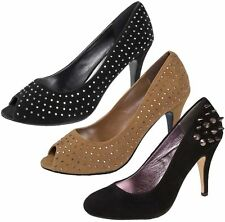 Womens Faux Suede Stiletto High Heels Spike Studded Court Shoes Ladies Size