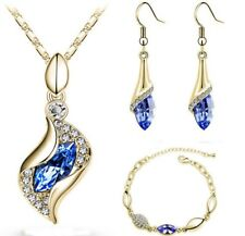 Fashion Design Luxury CZ Diamond Crystal Jewelry  Drop Earring+Pendant Necklace