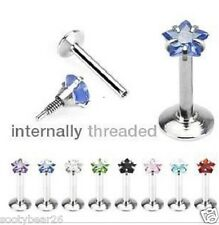 Buy 1 Get 1 Free Star Shaped Gem CZ Internally Thread Labret Stud Bar Lip Tragus
