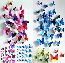 12 Pcs 3D Butterfly Art Decal Wall Stickers/Magnetic Home Decor Room Decorations