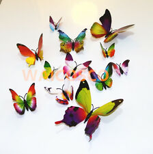 12 Pcs 3D Butterfly Wall Stickers Art Decal Home Room Decorations Decor Party AA