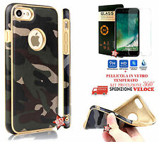 COVER CASE CUSTODIA MIMETICA MILITARE GOLD per APPLE IPHONE 7 / 7 PLUS + VETRO