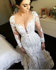 2017 Sexy Mermaid Wedding Dresses Embroidery Lace Appliques Bridal Gowns Custom
