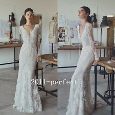 2017 Summer Sexy Lace Up V Neck Wedding Dresses Lace Mermaid Bridal Gown Custom