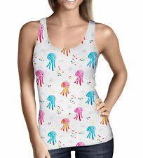 Watercolor Jelly Fish Ladies Tank Top - Sizes XS-5XL