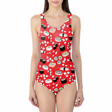 Sushi Cherry Blossom Women's Swimsuit XS-3XL One Piece with Removable Padding