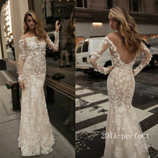 Sexy Mermaid Wedding Dresses Lace Flowers Long Sleeve Sheer Backless Bridal Gown