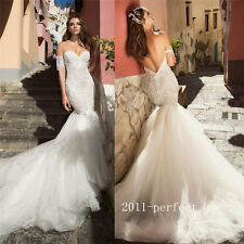 Sexy Mermaid Strapless Wedding Dresses Formal Bare Backless Bridal Gowns Custom