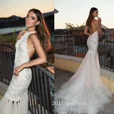 Sexy Mermaid Halter Wedding Dresses Embroidery Formal Backless Bridal Gowns New