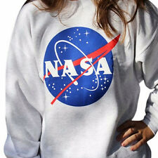 Women NASA Printed Pullover Sweatshirt Loose Jumper Baseball Tee Tops Blouse SK