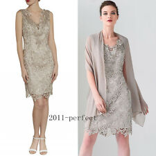2017 Beaded Short Mother Of The Bride Dresses Formal Lace Prom Dress With Cape