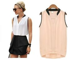 Summer Casual Chiffon Patchwork Blouse Women White Pink Blusas V-neck Sleeveless