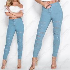 LADIES MULTI RIP CUT FRONT BLUE SKINNY JEANS WOMEN DENIM HIGH WAISTED LOOK PANTS