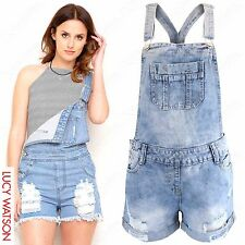 LADIES RIPPED DUNGAREE DENIM SHORTS WOMEN DUNGAREES BLUE JEANS FESTIVAL PLAYSUIT