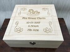 Personalised Engraved Wooden Box - Rocking Horse - New Baby / Christening GIFT