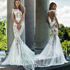 Sexy Sheer Backless Wedding Dresses Appliques Mermaid Bridal Gowns Custom 2017