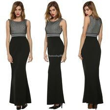 Women Sleeveless Sexy Patchwork Party Cocktail Evening Long Maxi Dress C1MY