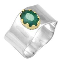 Brazilian Emerald Two Tone Ring Solid 925 Silver Brass Jewelry IR36559